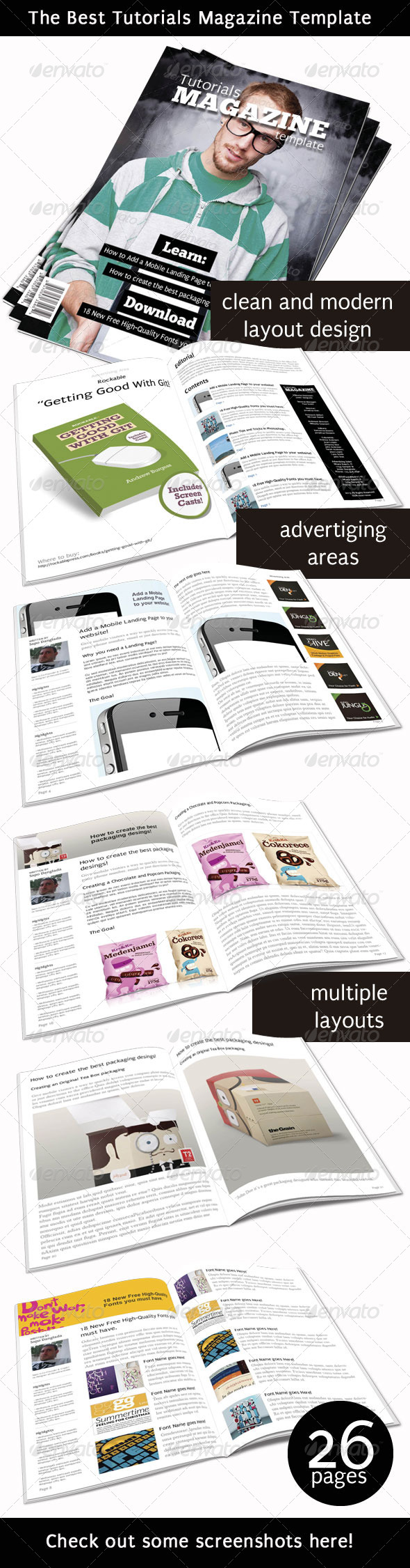 Tutorials Magazine Indesign Template - Magazines Print Templates