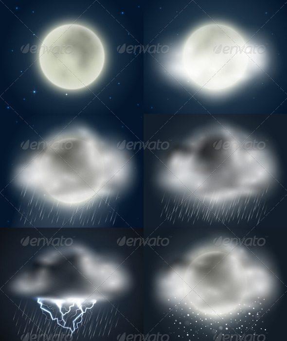 Weather Icons Collection (night) - Seasons Nature