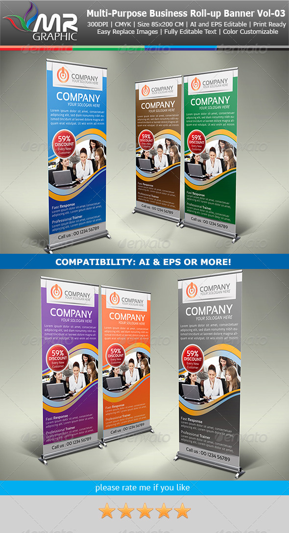 Multipurpose Business Roll-Up Banner Vol-03 - Signage Print Templates