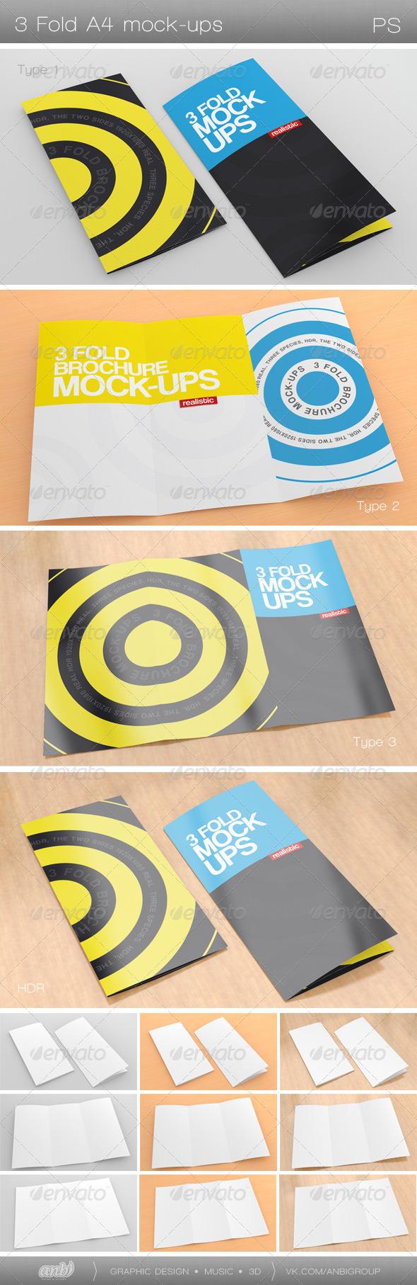 3 Fold A4 Mock-Ups - Brochures Print