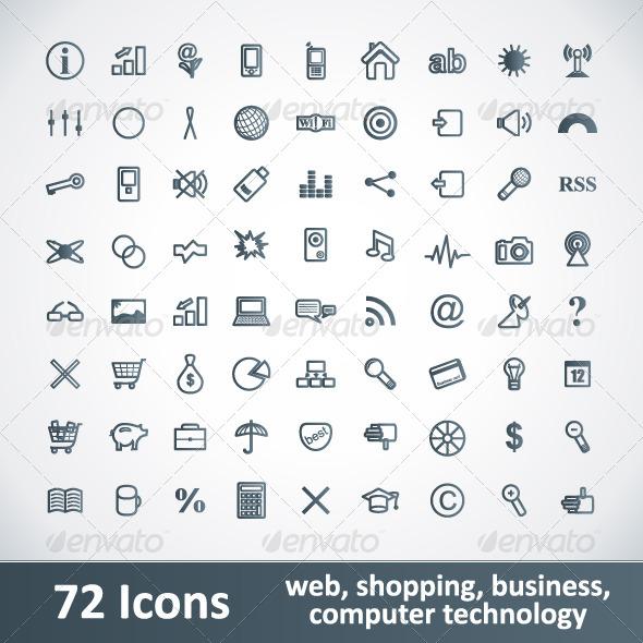 Large Icons Set. 72 Items - Web Icons