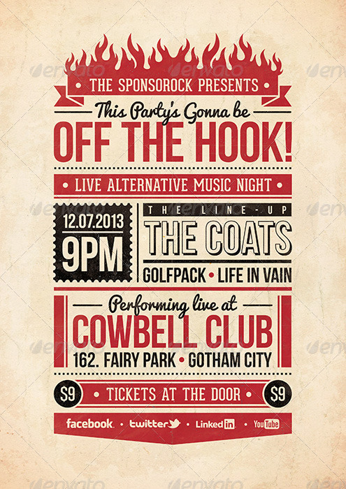 Off The Hook - Typography Flyer & Poster By Adamaczkov | Graphicriver