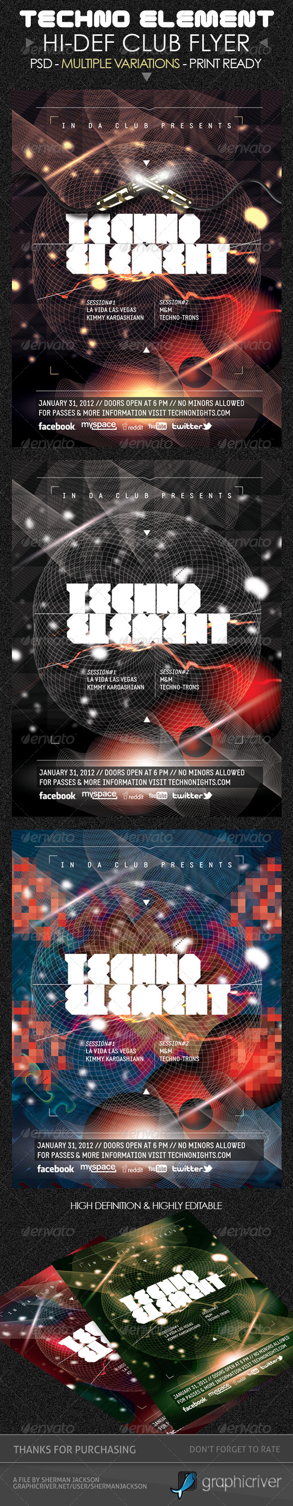 Techno Elements Party & Concert Flyer - Clubs & Parties Events