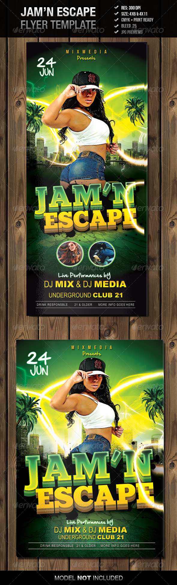 Jam'n Escape Flyer Template - Clubs & Parties Events