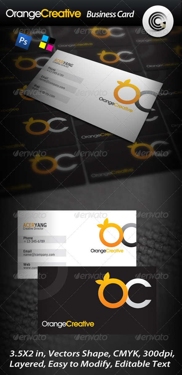 Orange Creative Business Card - Creative Business Cards