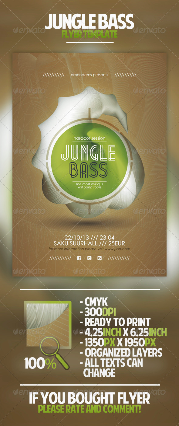 Jungle Bass Flyer Template - Clubs & Parties Events