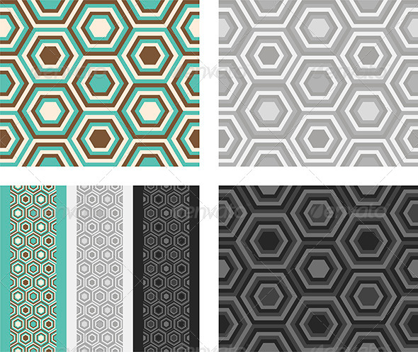 Fashion Pattern with Hexagons - Patterns Decorative