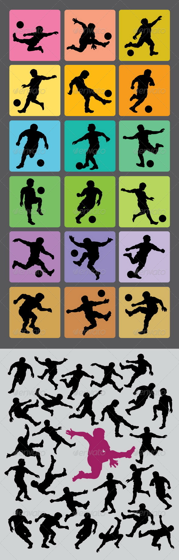 Soccer Boy Silhouettes - Sports/Activity Conceptual