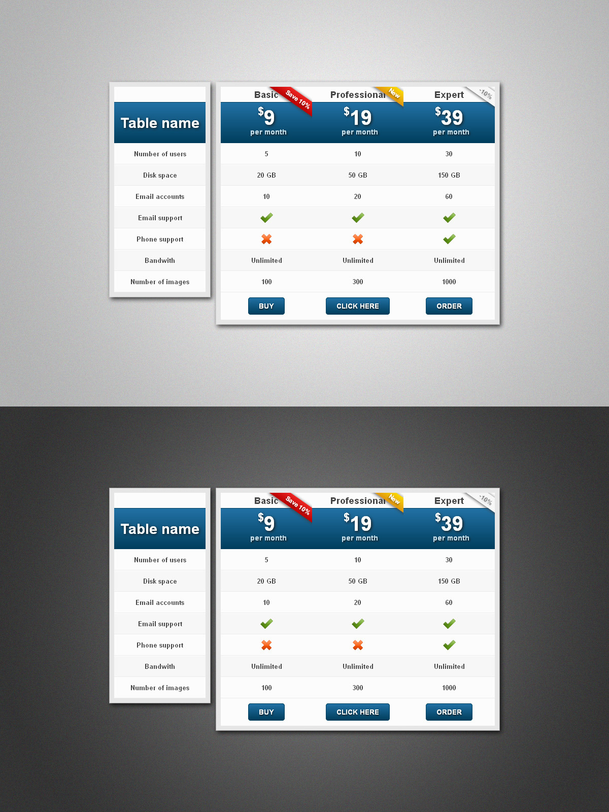 Multicolor :: Pure CSS Pricing Table Pack by CustomizeWP   CodeCanyon