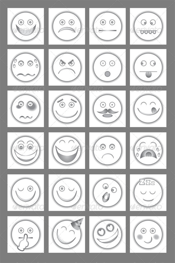 Clean Emoticon Icons Set - Miscellaneous Characters