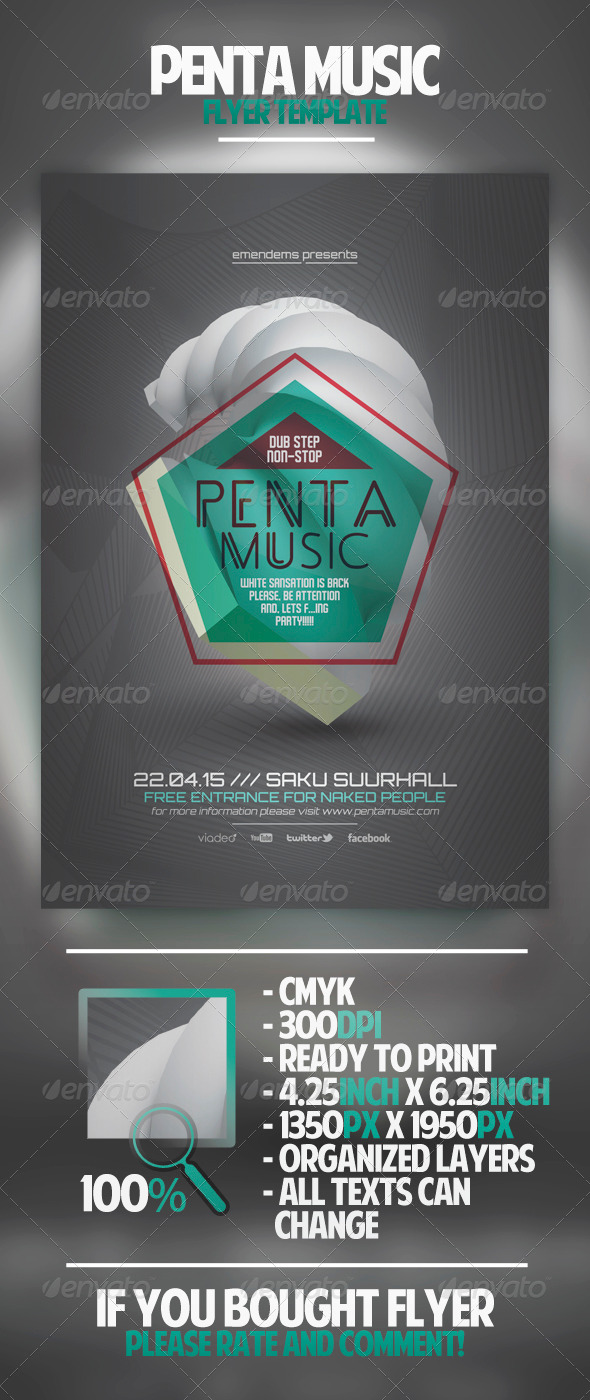 Penta Music Flyer Template - Clubs & Parties Events