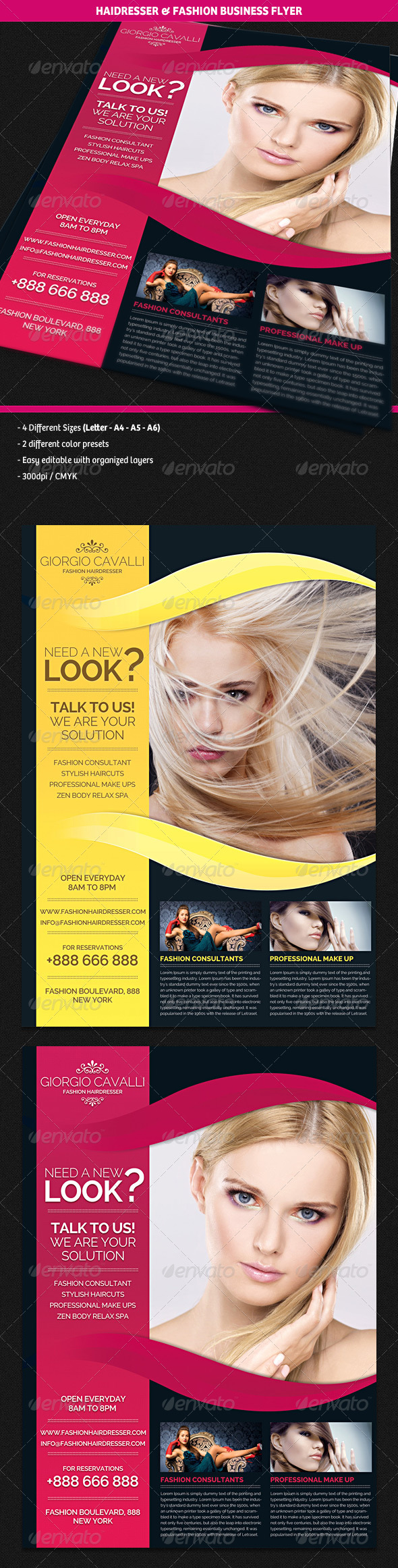 Hair Dresser Salon & Fashion Business Flyer - Corporate Flyers