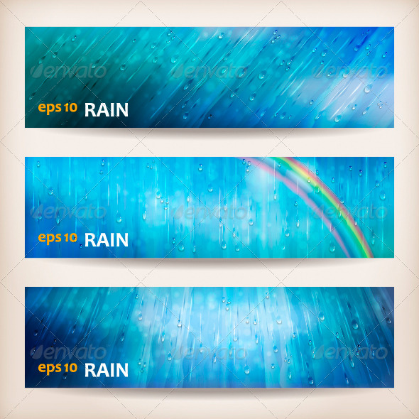 Blue Rain Banners Abstract Water Background Design - Abstract Conceptual