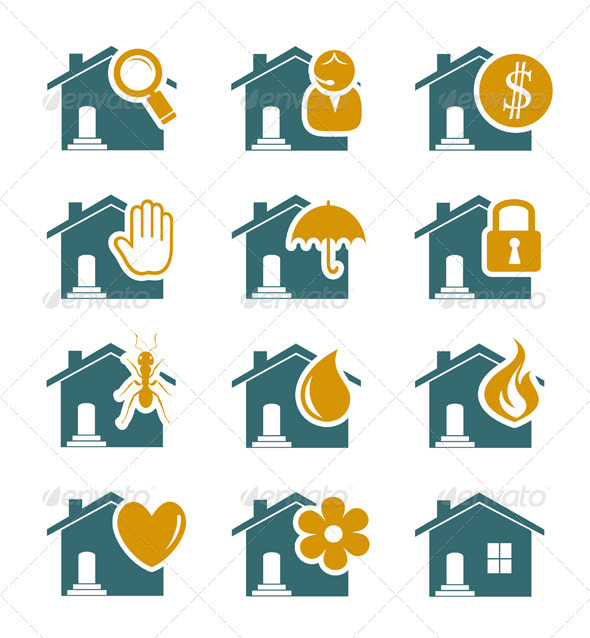 House Security and Service Icons - Services Commercial / Shopping