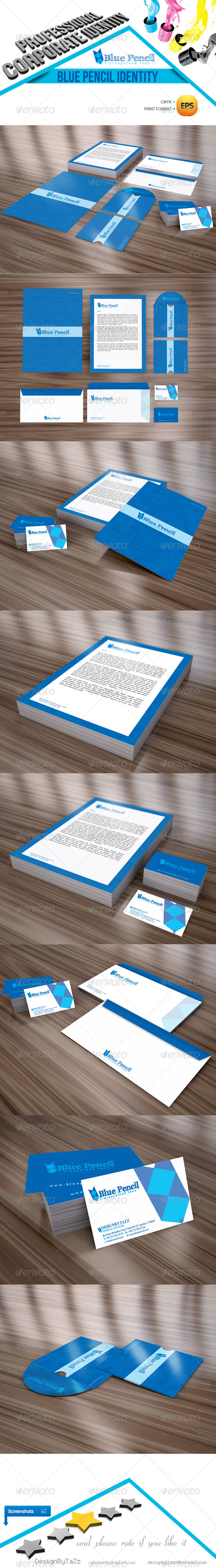 Blue Pencil Corporate Identity Package - Stationery Print Templates