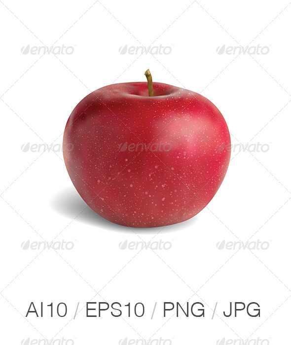 Realistic Red Apple - Food Objects
