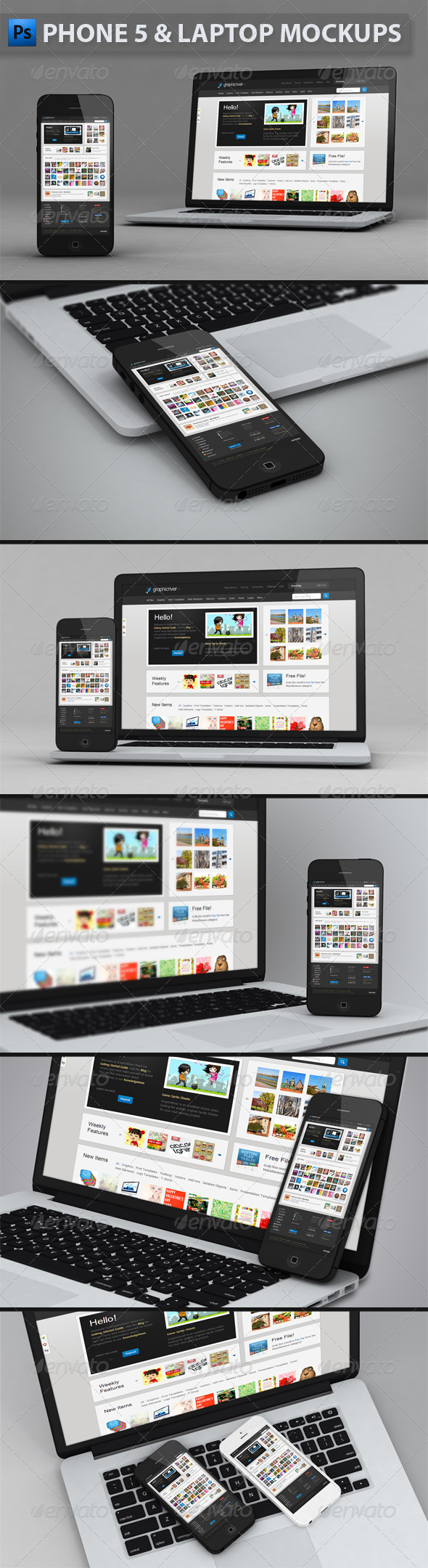 Phone and Laptop Mockups - Mobile Displays