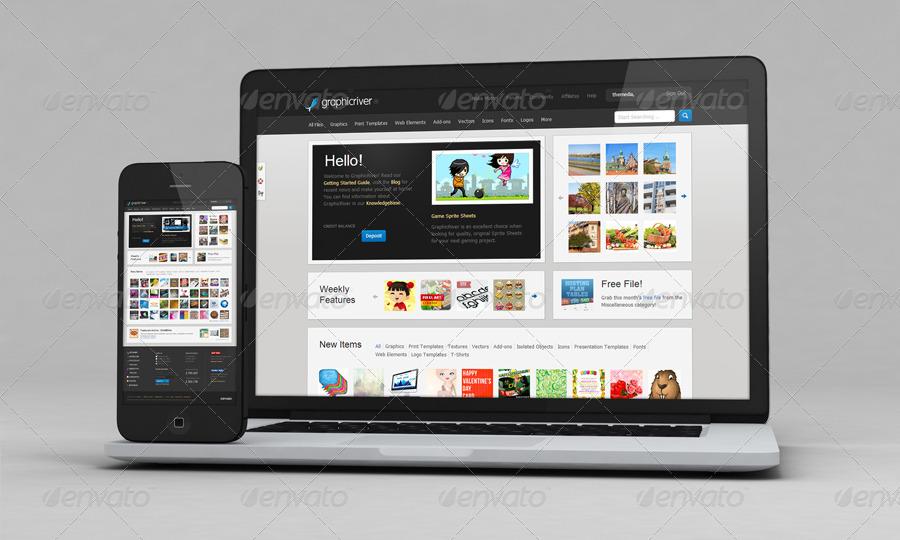05_iphone 5 macbook mockupsjpg - Ipad And Iphone Mockup