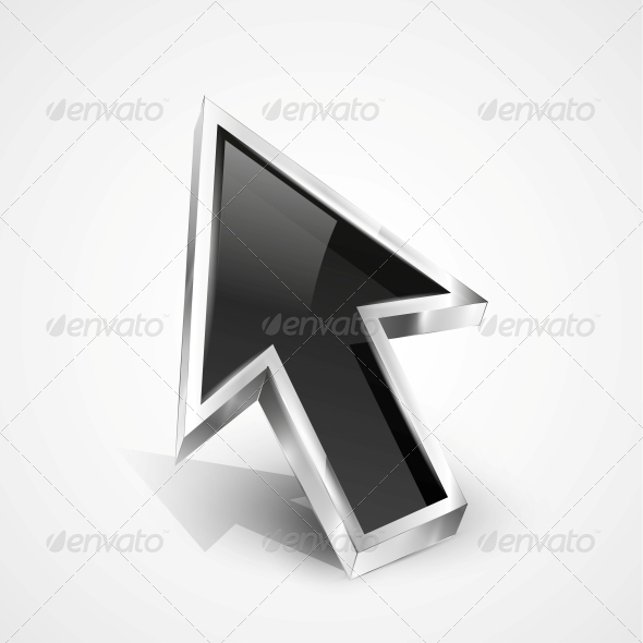 3D Vector Glossy Arrow Mouse Pointer - Web Elements Vectors