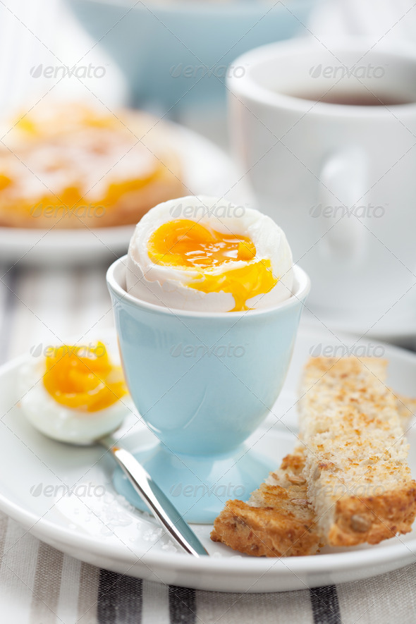 boiled egg for breakfast - Stock Photo - Images