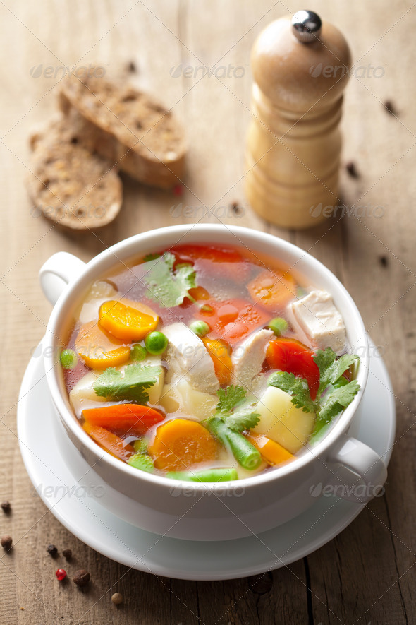 chicken soup with vegetables - Stock Photo - Images
