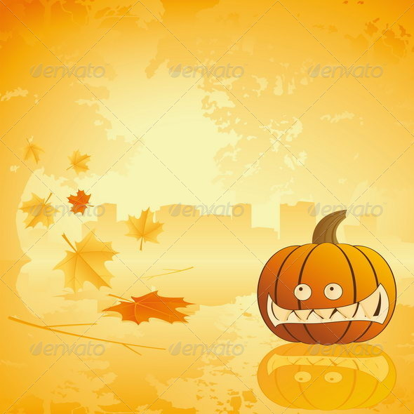 Halloween pumpkin with leafs and reflection - Halloween Seasons/Holidays
