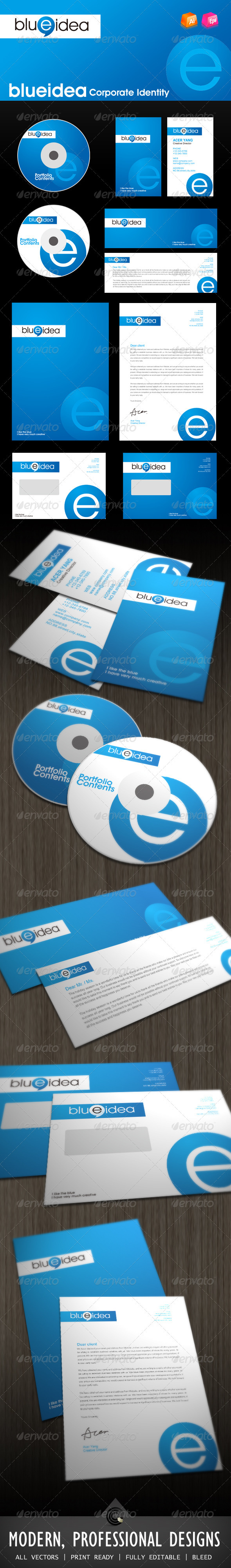 Blue Idea Corporate Identity - Stationery Print Templates