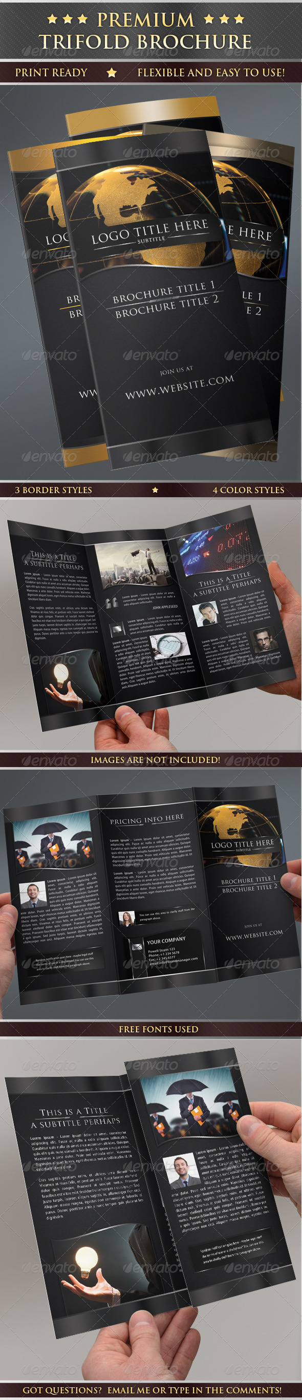 Premium Print Ready Trifold Brochure - Corporate Brochures