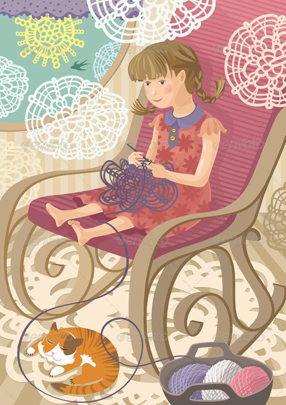 Girl Crocheting - People Characters