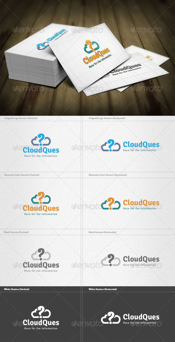 Cloud Question Logo - Vector Abstract