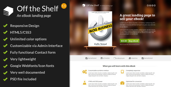 Off the Shelf – Responsive E-Book Landing Page