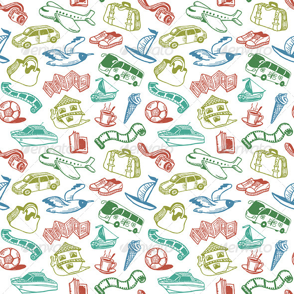 Travel and Rest Seamless Pattern Vector - Patterns Decorative