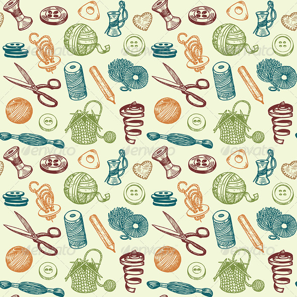 Sewing and Needlework Seamless Pattern Vector - Patterns Decorative