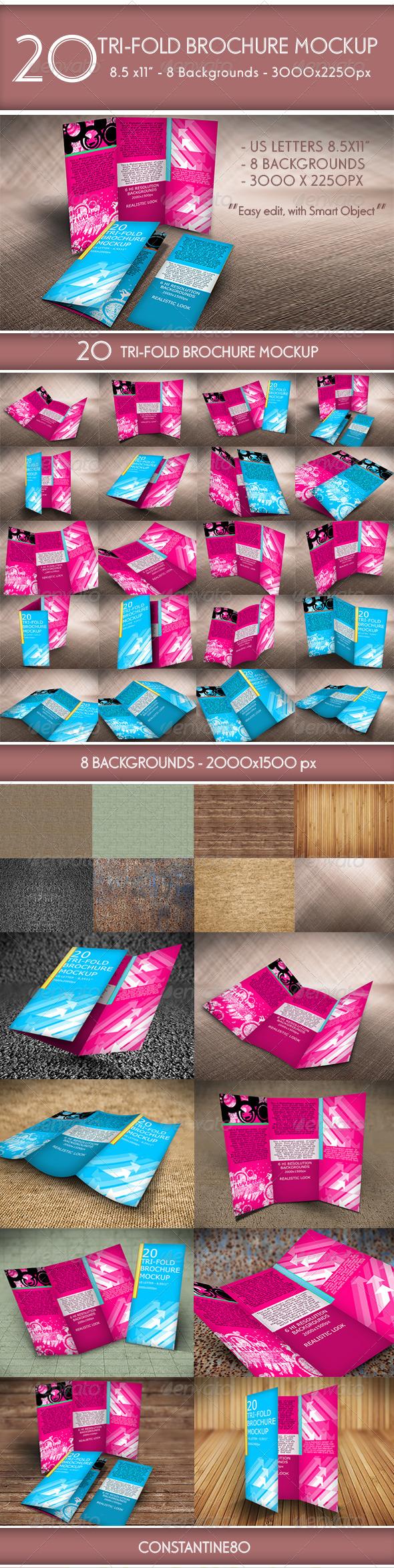 20 Trifold Brochure MockUp - Brochures Print