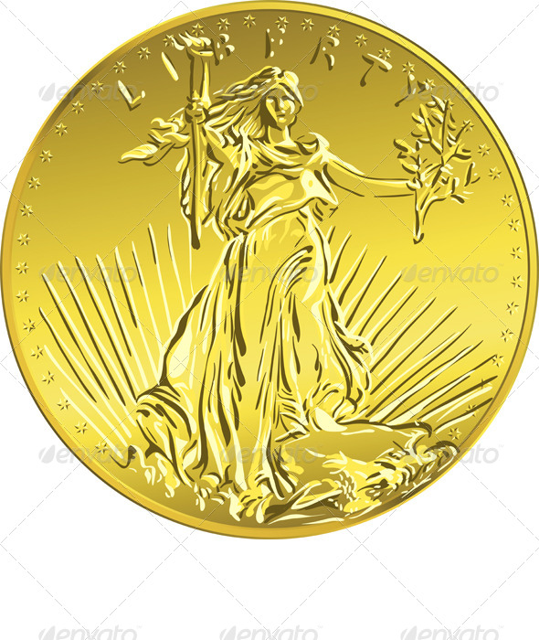 American Liberty Gold Coin  - Business Conceptual