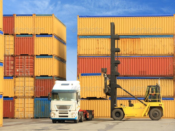 truck and containers - Stock Photo - Images