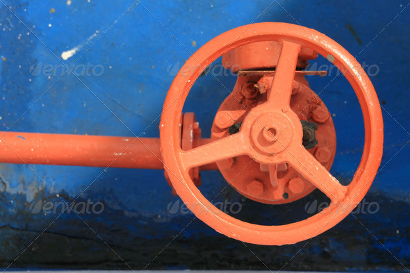 red faucet wheel - Stock Photo - Images