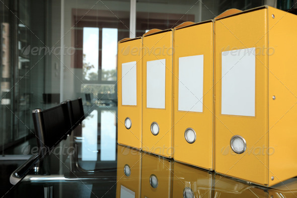 yellow folders - Stock Photo - Images