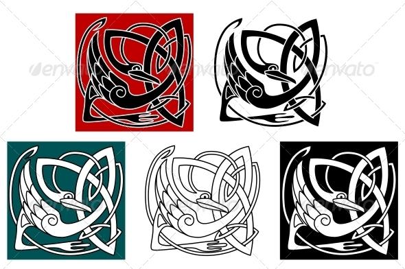 Stork Bird in Celtic Ornament - Decorative Symbols Decorative