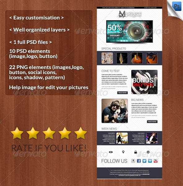 Mhouse E-newsleters Template - E-newsletters Web Elements