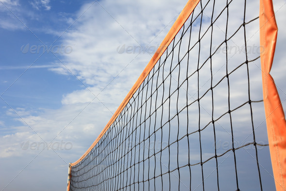 orange beach volleyball net - Stock Photo - Images