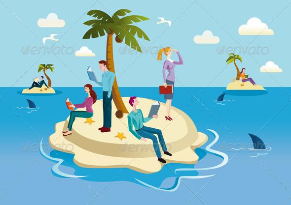 Books Island - Seasons/Holidays Conceptual