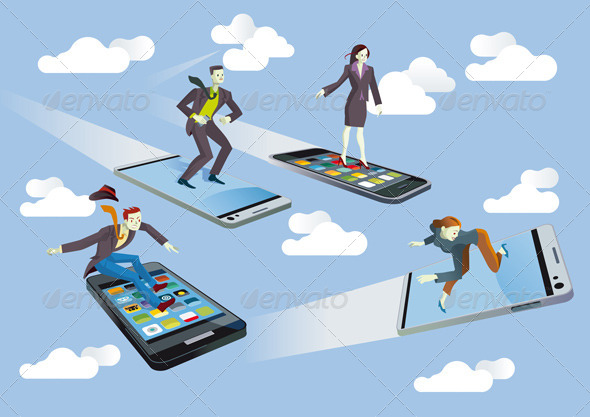Business People with Flying Smartphones - Technology Conceptual