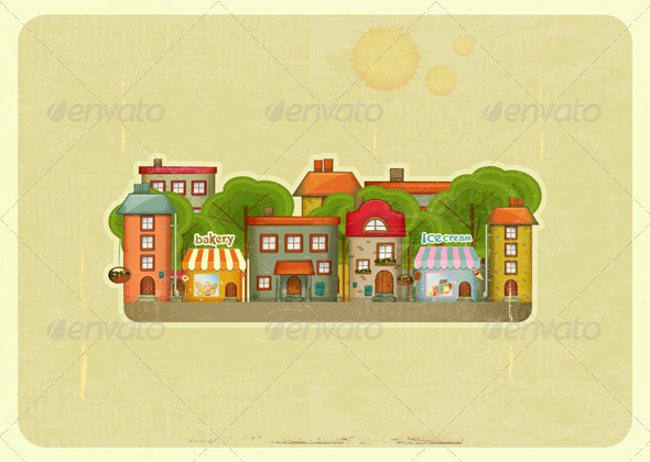 Little Town Retro Background  - Buildings Objects