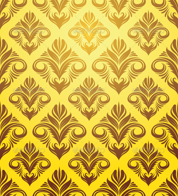 Gold Yellow Ornament Pattern - Patterns Decorative