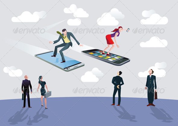 Businessman Businesswoman and Flying Smartphones - Technology Conceptual