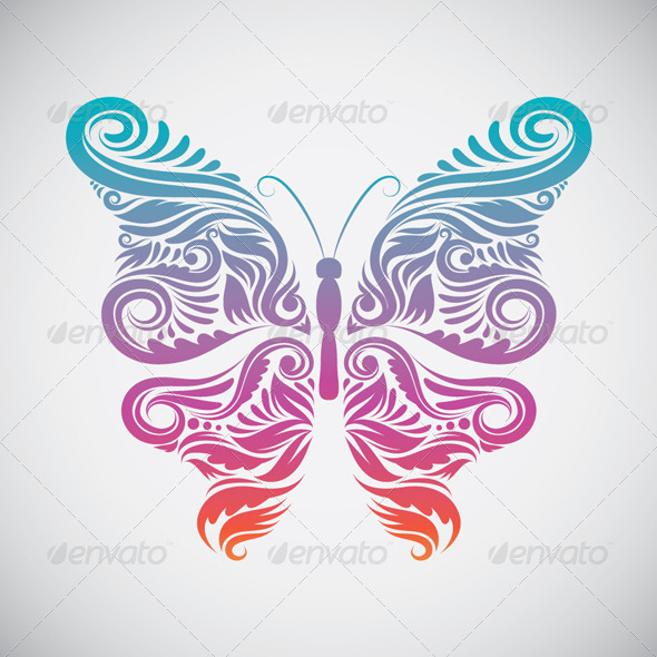 Decorative Butterfly Rainbow - Animals Characters