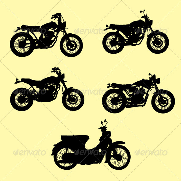Motorcycle Silhouette Vector Set - Man-made Objects Objects