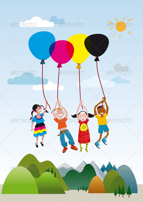 Children Playing with Balloons - Characters Vectors