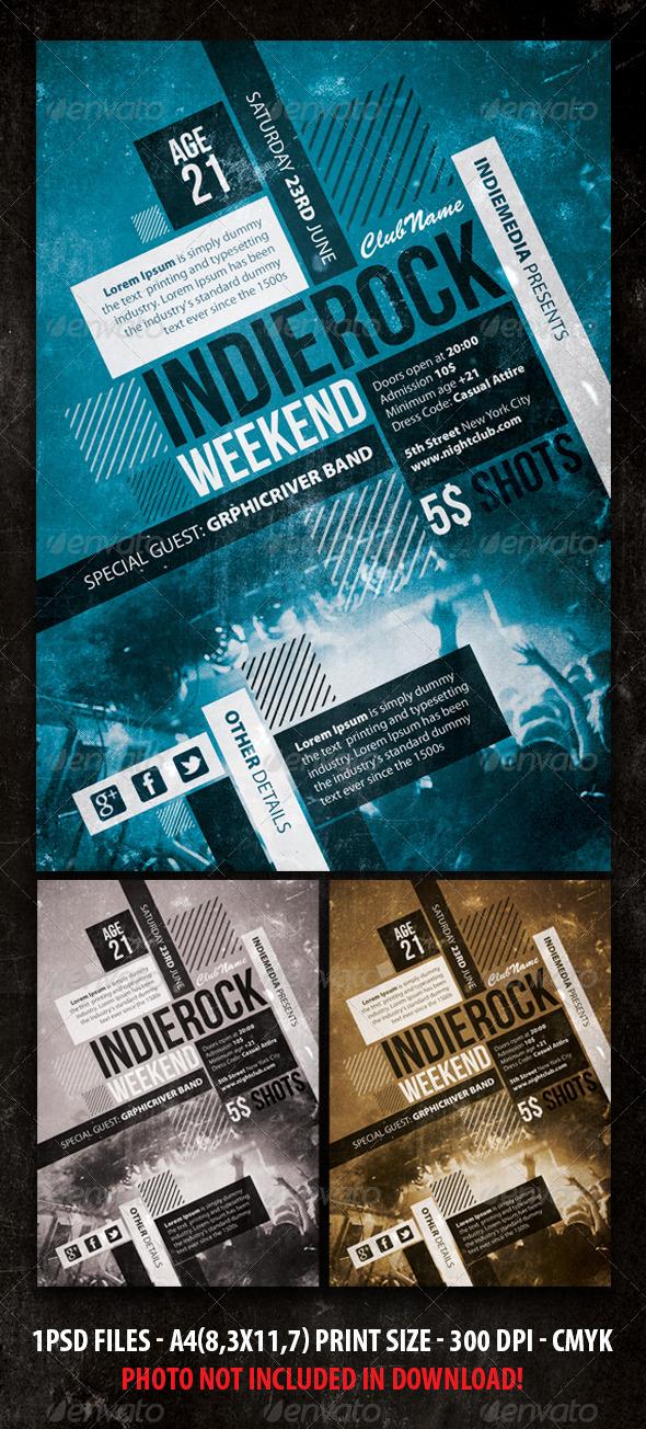 Indie Rock Vintage Concert / Party Flyer / Poster - Concerts Events